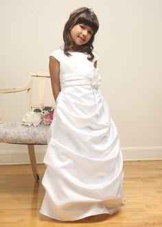 White Elegant Flower Girl Dress
