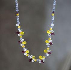 Glass Necklace, Tassel Necklace, Grey Glass, Semi Precious Gemstones, Diy Jewelry, Glass Beads, Bohemian, Pearls, Facebook