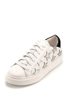 Shop Round Toe Lace-up Star Sneakers online. SheIn offers Round Toe Lace-up Star…