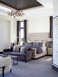 Contemporary Haven - contemporary - bedroom - denver - by Ashley Campbell Interior Design.  Floor length curtains, colors, furniture placement.