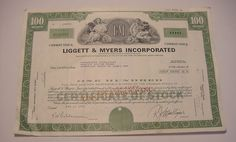LIGGETT & MYERS STOCK CERTIFICATE 100 Shares Cashed out in 1977