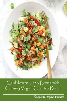 These Cauliflower Taco Bowls with Creamy Vegan Cilantro Ranch are filled with brown rice bell peppers onion & beans. A healthy & tasty vegan dinner! Healthy Chicken Dinner, Vegetarian Recipes Dinner, Healthy Crockpot Recipes, Easy Chicken Recipes, Vegan Dinners, Healthy Dinner Recipes, Soup Recipes, Vegan Recipes, Keto Dinner