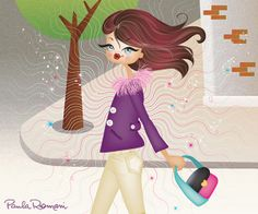 Magazine illustration for an article about attraction. Woman with handbag looking great!