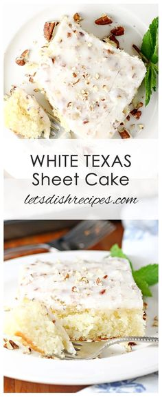 White Texas Sheet Cake Recipe: This variation on the classic sheet cake recipes features a moist white cake topped off with a delicious pecan studded frosting with a hint of almond extract. #cake