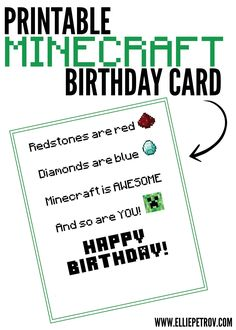 Free Printable Minecraft Birthday Card #minecraftBirthday