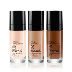 Make every day a good skin day with Fresh Nude Foundation. Enriched with English rose water and aloe vera, this hydrating formula leaves skin feeling beautifully fresh and comfortable all day. With a semi-matte finish, each of these 16 nature-inspired shades mimics the look of fresh-faced natural skin with a nude glow.