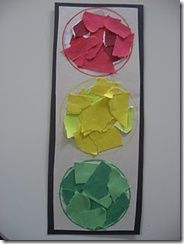 collage using red yellow and green construction paper to make a traffic light | stop light for transportation