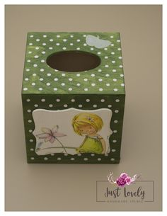 Items similar to Free post, Tissue box with girl and silver butterfly, green with pink dots on Etsy Tissue Boxes, Little Girls, Decorative Boxes, Lunch Box, Polka Dots, Butterfly, Unique Jewelry, Handmade Gifts, Green