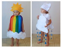 Hey, where there's rain, there are rainbows! And your two little ones dressed as  rainbow and clouds  are the perfect pair to deliver this sunny message.