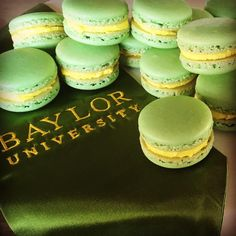 Green and gold macaroons, perfect for a Baylor graduation party!!