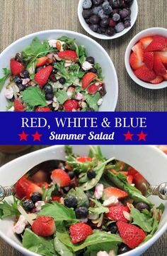 A refreshing summer salad that's easy to toss together. Blueberries, strawberries & feta cheese give this healthy side its name - red, white and blue salad. via @2CookinMamas
