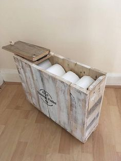 Rustic Shabby Chic Bathroom Storage Box Toilet Roll Pallet Available on etsy by VintagePalletCo