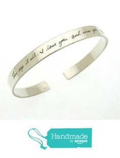 Personalized Handwriting Bracelet for her - Sterling Silver Engraved Cuff from NadinArtDesign https://www.amazon.com/dp/B01MT9PKJ3/ref=hnd_sw_r_pi_dp_0CqFybEFTT411 #handmadeatamazon