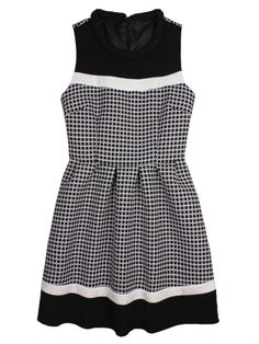 NEW! Classic Black and White Knit Collar Dress (DR0073) Sleeveless Excellent skirt for party!  Size: S, M, L (see the size chart as reference) Color: as picture Materials: silk, cotton  USD69.99 (HK$542) FREE Shipping Worldwide