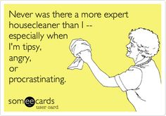 Funny Confession Ecard: Never was there a more expert housecleaner than I -- especially when I'm tipsy, angry, or procrastinating.
