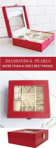 Cathy's Concepts | Personalized Red Leatherette Jewelry Box. You want you diamonds and pearls, jewels and gems protected and this is just the box. Elegant and spacious, this jewelry box is the perfect gift for  her.