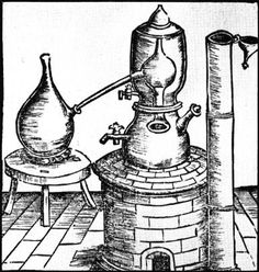 Alchemy:  A Moor's head distillation apparatus. This head contains cooling water. An Alchemy artwork.