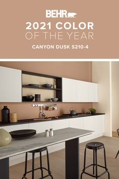 For your next DIY project, turn your kitchen into a five-star space any chef would be jealous of with our BEHR® 2021 Color of the Year. Canyon Dusk S210-4 is an earthy, free-spirited terracotta shade that brings a sense of cozy calm to the spaces we live in. Click to explore Canyon Dusk.