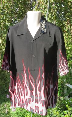 DRAGONFLY SHIRT XL ACETYLENE NWT Black RED Gray FLAMES Border 2004 #Dragonfly #ButtonFront