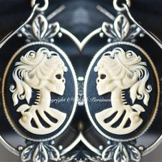 Miss Skeleton Grecian Earrings  Day of the Dead by blackpersimmons, $15.00
