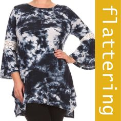 """TIE DYE JERSEY TOP WITH ASYMMETRICAL HEM Pretty tie dye jersey knit in blue with 3/4 length bell sleeves. Crochet lace embellishment and asymmetrical hemline with side slits.  ♦️XL:  Bust 44""""  Hips 54""""  Length 35""""                       ♦️2X:  Bust 46"""" Hips 57"""" Length 35.5""""                     ♦️3X:  Bust 48"""" Hips 60"""" Length 36"""" tla2 Tops"""