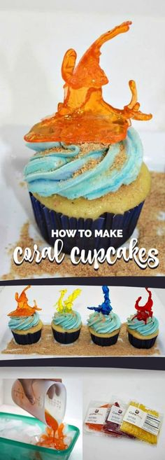 Instructions on how to make realistic coral cupcakes using isomalt sticks that will have your guests talking. Cake Decorating Piping, Cake Decorating Designs, Cake Decorating Techniques, Food Table Decorations, Dessert Decoration, Cupcake Decorations, Cupcake Recipes, Cupcake Cakes, Dessert Recipes