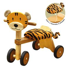 I'm Toy Wooden Paddie Rider Tigger has a soft cushioned seat and tactile ears allowing it to delight and engage children whilst providing hours of fun. This wooden ride on toy features the wooden face of a tiger with soft tactile ears, a soft cushion fabric tiger skin seat and a smooth finish that will bring a smile to your little one`s face. The seat cushion is removable and washable. (Adult assembly required as is flat packed).     Age Guide: 19 months +    Dimensions: L48 x H44 x W29 cm