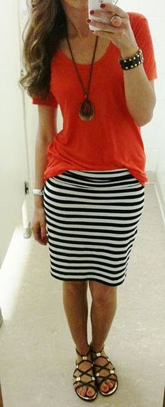 striped skirt, tee, long necklace, sandals