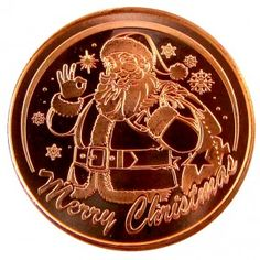 1 oz Fine .999 Copper Christmas For Santa Milk and Cookies w// Snowflake