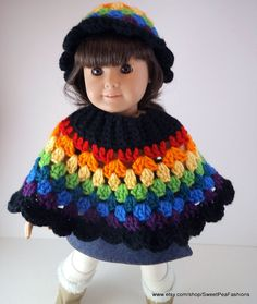 American Girl Rainbow Poncho and Hat Set by SweetPeaFashions, $9.00