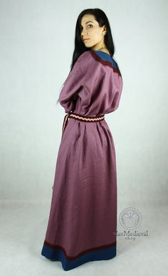SALE Early Medieval linen underdress gown in by SlavMedievalShop