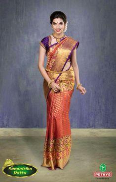 Kanjivaram Sarees Silk, Pure Silk Sarees, South Indian Sarees, South Indian Bride, Wedding Silk Saree, Indian Bridal Fashion, Saree Look, Elegant Saree, Bollywood Saree