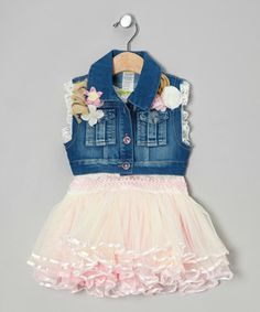 This pretty duo makes it simple to look stylish. The darling denim vest boasts floral embellishments that match the pink hue of the slip-on tutu dress.