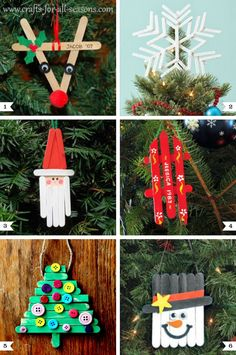 15 Easy Kids Christmas Crafts Keeping kids busy when it's cold outside is a task on its own! These 10 easy kids Christmas Crafts double as great gift as well as decor and keep them busy! Noel Christmas, Diy Christmas Ornaments, Craft Stick Crafts, Holiday Crafts, Christmas Gifts, Christmas Ideas, Craft Sticks, Ornament Crafts, Popsicle Crafts