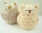 Upcycled Felted Wool Owls