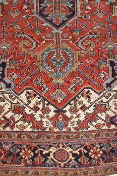 View this item and discover similar for sale at - Colorful early century Persian Heriz. Persian Carpet, Persian Rug, Oriental Rugs, Floor Rugs, Rugs On Carpet, Duvet, Bohemian Rug, Textiles, Flooring