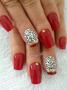 In terms of your manicure, red is usually the color associated with sexy, provocative nails. There is no denying that red nails will improve your sex appeal Fancy Nails, Love Nails, Red Nails, Hair And Nails, Gorgeous Nails, Pretty Nails, Leopard Print Nails, Leopard Prints, Animal Prints