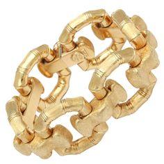 Italian Brushed Gold Bamboo Bracelet