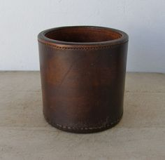 LIAR'S DICE CUP + 4 Dice Brown Hard Leather Exterior + Interior Single Stitching Large Cup Vintage American Mid 1900's Special Price! by OnceUpnTym on Etsy