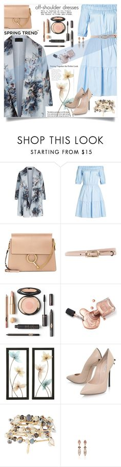"""""""Off-shoulder dresses"""" by jan31 ❤ liked on Polyvore featuring Marina Rinaldi, HUGO, Chloé, Valentino, Casadei, Emily & Ashley, Anna Sheffield, Spring, Pumps and florals"""