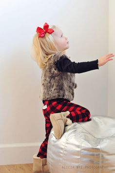 Baby Leggings Buffalo Plaid Red and Black Check by TheLittleSpoons