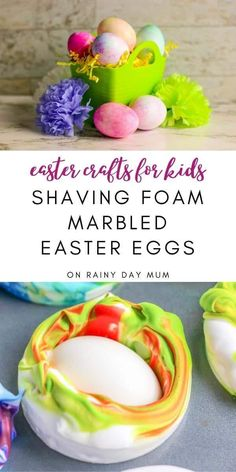 This easy Easter Craft for kids from toddlers up is quick, low prep and produces beautiful Easter Eggs marbled with shaving foam.