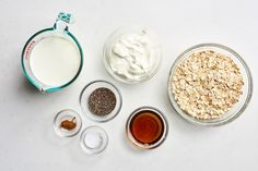 Old-fashioned oats are mixed with milk and yogurt for a portable, make-ahead breakfast that's cool, creamy, and subtly sweet. Basic Overnight Oats Recipe, Overnight Oats With Yogurt, Weekend Meal Prep, Dairy Free Yogurt, Breakfast Dishes, Breakfast Ideas, Breakfast Recipes, Brunch Ideas, Yogurt Cups