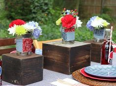 tin cans with fabric wraps & flowers <3 #DIY