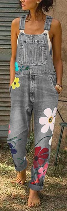 off】Casual Big Flower Print Pockets Denim Jumpsuit. Jumpsuit Casual, Denim Jumpsuit, Floral Jumpsuit, Painted Jeans, Painted Clothes, Diy Jeans, Denim Fashion, Fashion Outfits, Fashion Ideas