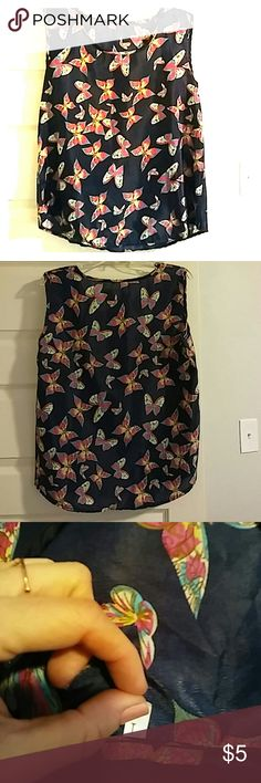 Silky tank top NWOT. Silky material dark blue with multi colored butterflies. Size large Tops Tank Tops