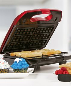 Look at this #zulilyfind! Metallic Red 3-in-1 Multi Maker  Prepare pressed paninis, waffles and fresh cupcakes with this versatile multi maker. Featuring an easy-carry handle and interchangeable nonstick plates, it's bound to become a favorite kitchen accessory in no time.  10.5'' W x 10.5'' H x 4'' D Bakelite / aluminum Hand wash Imported #zulilyfinds