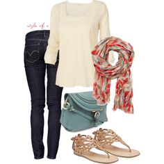 """Red and Seafoam Scarf"" by styleofe on Polyvore"