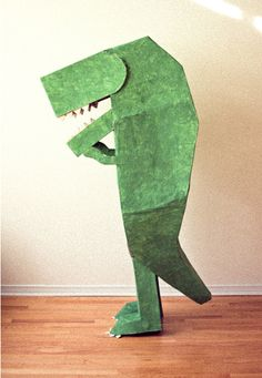 #DontForgetTheKids! #BishopsMove #fun  #craft #cardboard #box #Halloween #costume #dinosaur #green