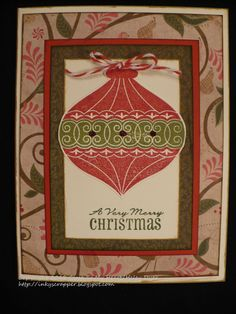 The Inky Scrapper: October Stamp of the Month Blog Hop: Very Merry Christmas. Pear & Partridge paper, Cranberry twine. Card layouts from Make It From Your Heart Vol I.